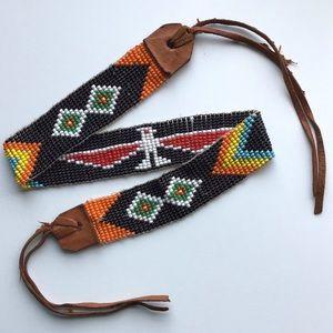 Vintage Southwest Bird Woven Bead Necklace